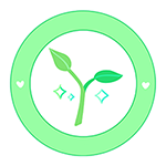 Aloe logo; a budding plant with sparkles around it in a light green circle with twin hearts on the left and right