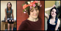 Three pictures of a light-skinned femme with long, dark hair and a bright smile: on a PT table wearing knee braces, wearing a flower crown, and holding the top of a pineapple on her head
