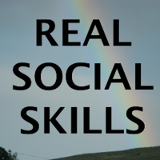 Real Social Skills logo; bold text on a background with mountains, overcast sky, and rainbow